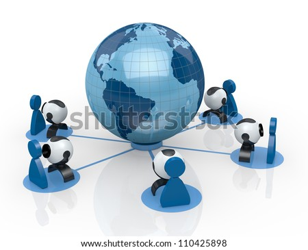 world globe with some webcam and stylized people around it (3d render) - stock photo
