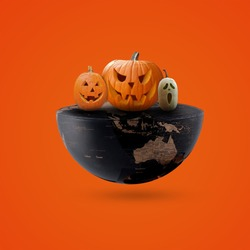 world Halloween day, Halloween, Happy Halloween day, Halloween Pumpkins On World, party