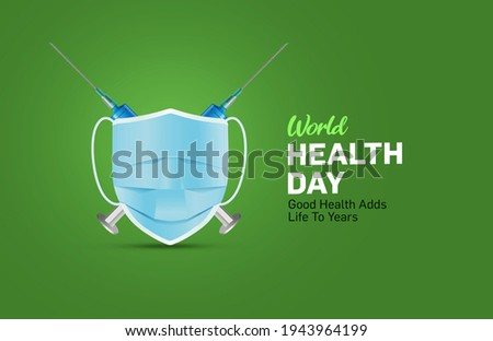 World Health Day Concept Background. Mask and vaccine health day concept 3d illustration background. Save the wold, Global health care and Coronavirus concept. World Day for Safety and health.