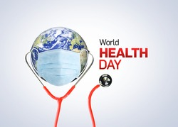 World Health Day Concept Background. Stethoscope on world globe on white background. Save the wold, Global health care and Coronavirus concept. World Day for Safety and health