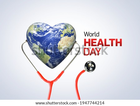 World Health Day concept. Heart and stethoscope design for health day. Global health care and Coronavirus  concept. World Day for Safety and Health at Work.