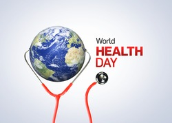 World health day, Stethoscope on  world globe on white background. Save the wold, Global health care and Coronavirus health concept. World Day for Safety and Health at Work.