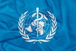 World Health Organization flag as background