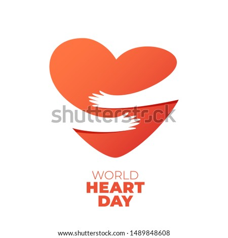 World Heart Day, hands hugging heart symbol. illustration of hands hugging heart, Heart Care concept