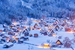 World Heritage Site Shirakawago village and Winter Illumination