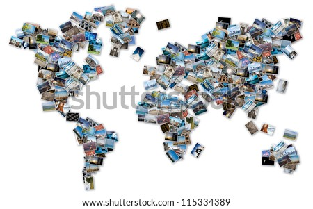 World image made by stack of travel photos from the world.