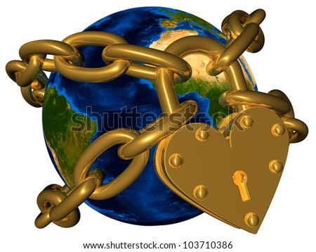 World in golden chain and golden lock Elements of this image furnished by NASA - stock photo