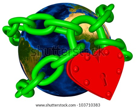World in green chain - ecology or environmental fanatic Elements of this image furnished by NASA