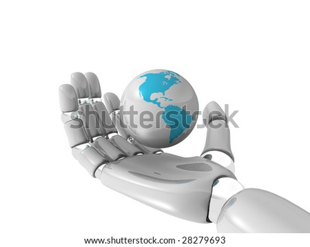 world in hand of robot on white background
