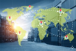 World international map connection connect network with blurred distribution logistic cargo warehouse background