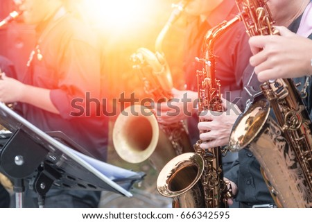 World Jazz festival. Saxophone, music instrument played by group of saxophonist players musician in fest.