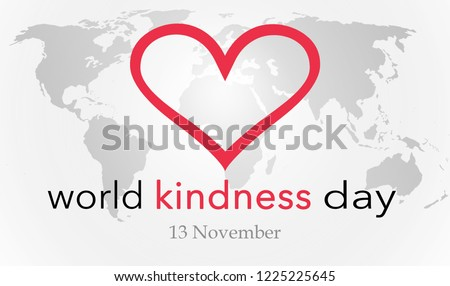 World kindness day, background with heart and world map