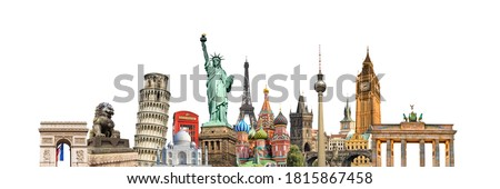 World landmarks and famous monuments collage isolated on panoramic white background