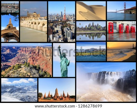 World landmarks image collage - photos of United States, France, England, Spain, Brazil, New Zealand, Japan, Thailand and Cambodia. #1286278699
