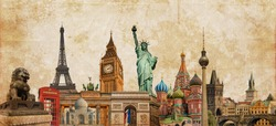 World landmarks photo collage on vintage sepia textured background, travel, tourism and study around the world concept, vintage postcard style