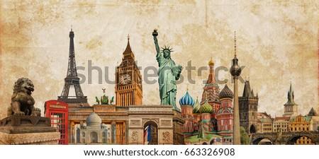 world landmarks photo collage...