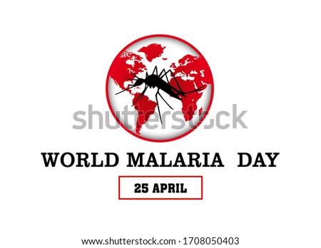 World Malaria Day banner illustration on white background. 25 April. Foto d'archivio ©