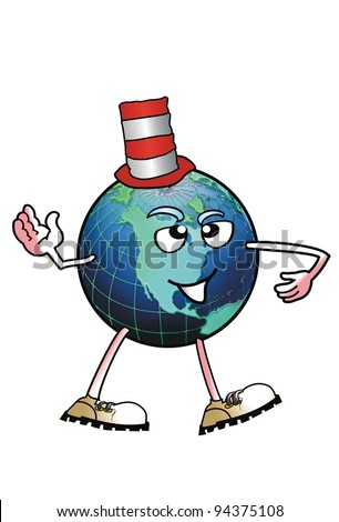 World Man Wearing Funny Red Hat.