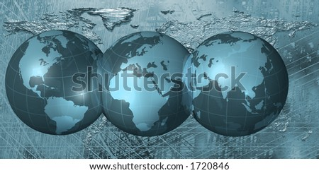 World Map across three globes