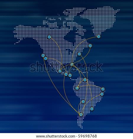 World map airline flights path travel plans