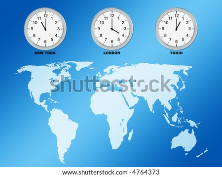 World map and clocks, computer generated - stock photo