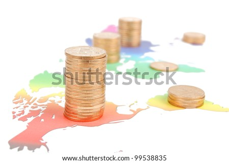 World map and coins
