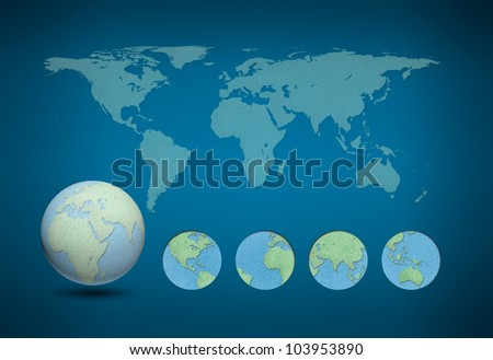 World map and earth globes by cork board on blue background