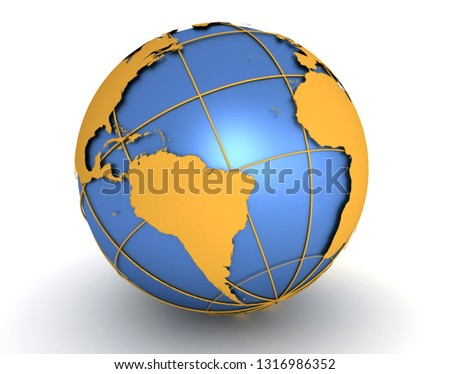 World Map and Globe. 3D rendering illustration