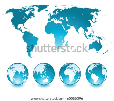 world map and glossy globes
