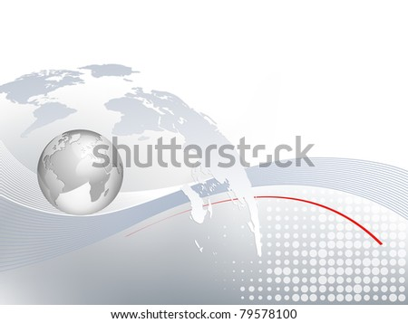 World map and silver 3d globe - business background - light grey blue backdrop with lines and dots and gradient to white