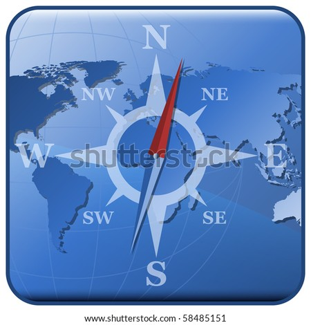 World map and stylized compass icon - stock photo