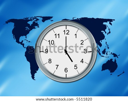 World map background and analog clock