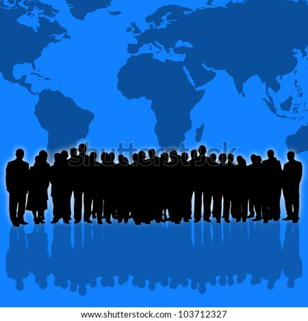 world map background and business people silhouette - stock photo