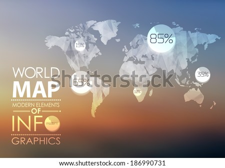 World map background in polygonal style for website, info-graphics, banner.
