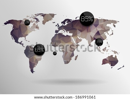 Royalty free polygonal world map and information 172519439 stock world map background in polygonal style for website info graphics banner gumiabroncs Gallery