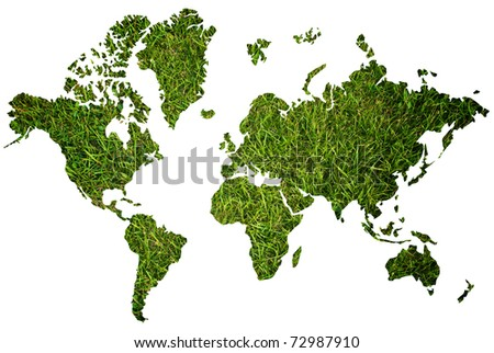 World map background with grass field.