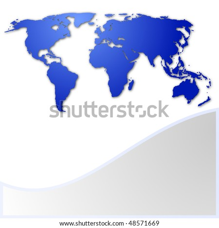 world map business card with copyspace for text message