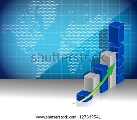 world map business graph profits concept illustration background