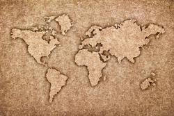 world map carving on wood board