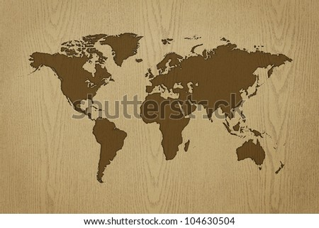 world-map carving on wood texture