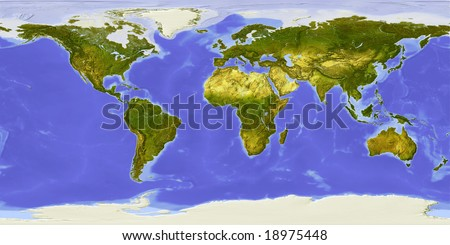 World map centered on Africa. Shaded relief colored according to vegetation. Shows polar and pack ice, large urban areas.