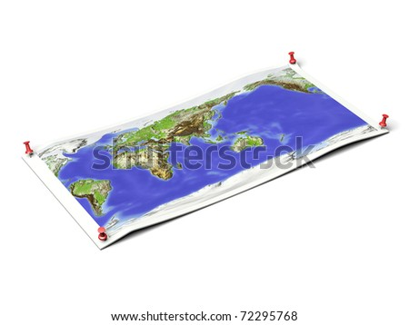 World map, centered on Asia, on unfolded map sheet with thumbtacks. Map colored according to elevation. Includes clip path for the background.