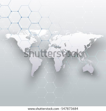 World map, connecting lines and dots on gray color background. Chemistry pattern, hexagonal molecule structure, scientific DNA research. Medicine, science concept. Abstract design decoration.
