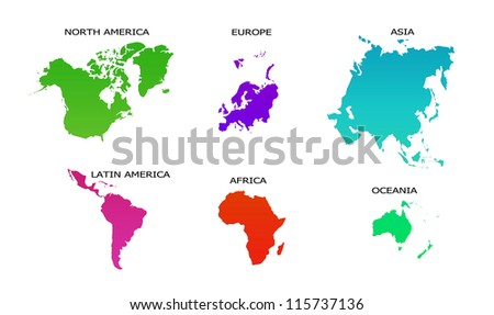 World Map 6 continents isolated on white background - stock photo