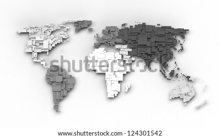 World map, cube concept - stock photo