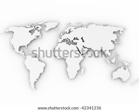 world map. 3d