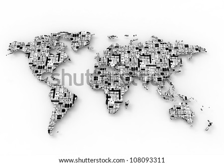 World Map, 3D render