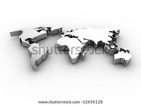 World map - 3d render