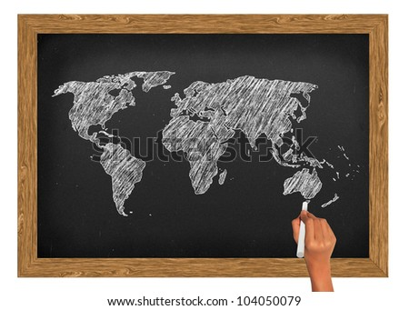 World map draw on blackboard wood frame with clipping path