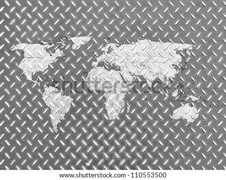 World map drawn on metal floor